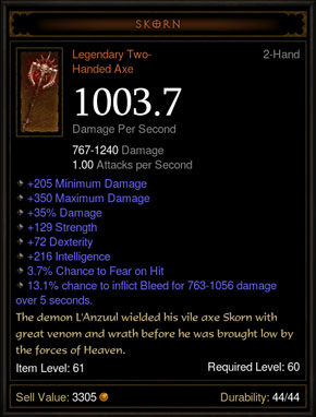 Diablo 3 Old Legendary Item